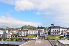 View on Ponta Delgada from the ocean pier, Azores, Portugal. Stock Photos