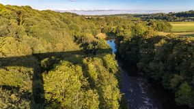 View from Pontcysyllte Aqueduct, Wrexham, Wales, UK. View from Pontcysyllte Aqueduct with the River Dee and the Cefn Mawr Viaduct in the background, Wrexham Stock Photography