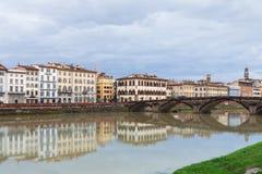 View of Ponte alla Carraia over Arno in autumn Royalty Free Stock Photos