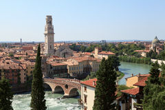 View of the Ponte bridge in Verona on the Adige River. Verona. Italy Royalty Free Stock Images