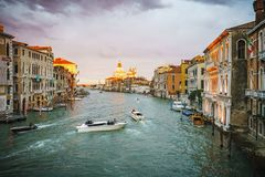 View from the Ponte dell`Accademia on the grand canal in venice stock images