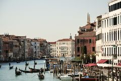 View from Ponte di Rialto bridge, Venice, Italy, vintage hues Stock Photography