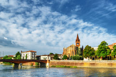 View of the Ponte Navi and the Saints Fermo and Rustico. Verona. Beautiful view of the Ponte Navi over the Adige River and the Saints Fermo and Rustico church in Royalty Free Stock Photo