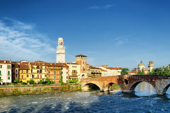 View of the Ponte Pietra and bell tower of the Verona Cathedral Stock Photos