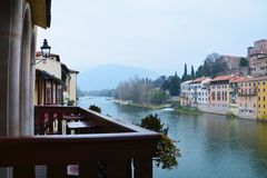 View from Ponte Vecchio in Bassano del Grappa, Italy Stock Image