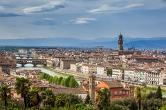 View of Ponte Vecchio and the city of Florence from Michelangelo Square. View of Ponte Vecchio and the beautiful city of Florence from Michelangelo Square stock image