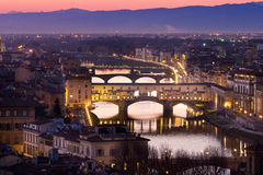 View of Ponte Vecchio bridge, Florence, Tuscany, Italy. Royalty Free Stock Images
