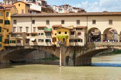 View of Ponte Vecchio bridge, Italy Royalty Free Stock Photos