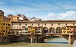 View of Ponte Vecchio bridge, Italy. View of Ponte Vecchio bridge over Arno river in Florence, Italy Royalty Free Stock Photos