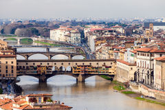 View Of Ponte Vecchio, Florence. View above river Arno and Ponte Vecchio in Florence, Italy Royalty Free Stock Photo