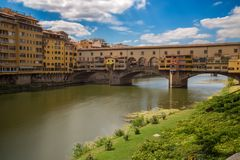Ponte Vecchio in Florence Firenze, Tuscany, Italy in a summer sunny day stock photos