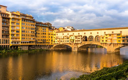 View or Ponte Vecchio in Florence Italy. View of the Ponte Vecchio Old Bridge in Florence Italy Royalty Free Stock Photography