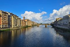 View from Ponte Vecchio in Florence. In Italy Royalty Free Stock Images