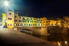 View of Ponte Vecchio at night stock photos