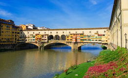 View of Ponte Vecchio over Arno River in Florence Stock Photos