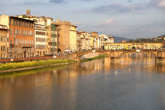 View of Ponte Vecchio over Arno River in Florence, Italy Stock Images