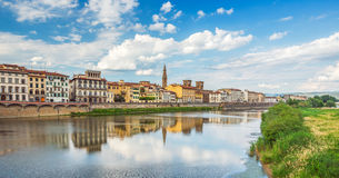 View of Ponte Vecchio with reflections in Arno River, Florence, Royalty Free Stock Image