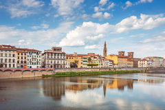 View of Ponte Vecchio with reflections in Arno River, Florence Stock Image