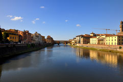 View of Ponte Vecchio and river in Florence Stock Image