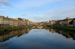 View of Ponte Vecchio at sunset, Florence, Italy Royalty Free Stock Photography
