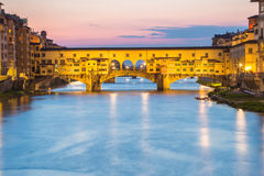 View of Ponte Vecchio at twilight in Florence, Italy Stock Photo