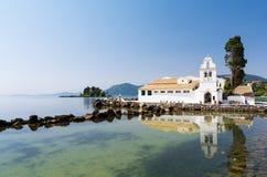 View on Pontikonisi on Corfu island, Greece Royalty Free Stock Image