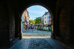 View through the Ponttor in Aachen, Germany royalty free stock photo