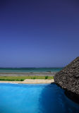 View from the pool. Across the beach Mombassa Kenay Africa Royalty Free Stock Photos