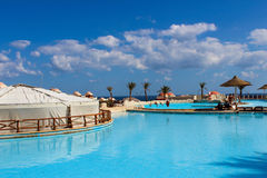 View of the pool at the hotel Stock Image