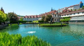 A view from the pool inside Waldstein Palace gardens stock photography