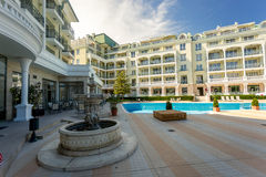 View on poolside at hotel at sunny day Royalty Free Stock Image