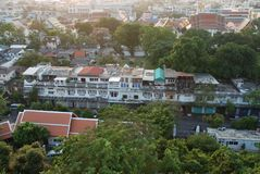 View of poor Bangkok. View of poor and dirty houses of Bangkok from Golden Mountain temple, Thailand stock images