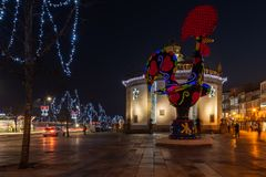 View at the Pop Galo at night. BARCELOS, PORTUGAL - CIRCA JAUARY 2019: View at the Pop Galo at night, public art inspired in the Barcelos cock, cosidered one of stock image