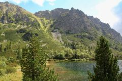 View of Popradske Pleso- Mountain lake of glacial origin in the High Tatras, Slovakia. Europe Stock Photography