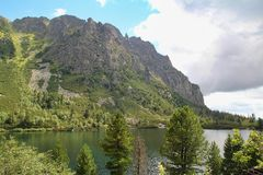 View of Popradske Pleso- Mountain lake of glacial origin in the High Tatras, Slovakia. Europe Royalty Free Stock Image