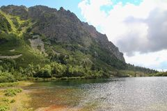 View of Popradske Pleso- Mountain lake of glacial origin  in the High Tatras, Slovakia. Europe Royalty Free Stock Images