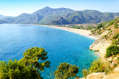 View on popular turkish resort Oludeniz, aegean Turkey Royalty Free Stock Photos