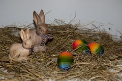 View on porcelain easter bunny on a hay royalty free stock image