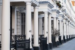 Entrances to a row of Georgian properties in London Stock Image