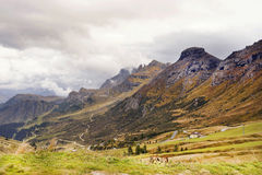 View from Pordoi Pass, looking east, Italy, Europe Royalty Free Stock Photography