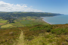 View of Porlock and countryside Somerset England uk from the coast path. View of Porlock countryside Somerset England uk from the walk to Bossington beautiful stock image