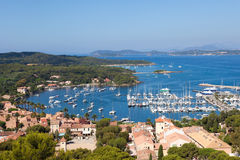 View of Porquerolles island marina in France Royalty Free Stock Photo