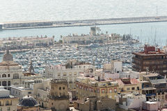 View of the Port of Alicante in Spain. Stock Photos