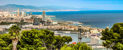 View on port of Barcelona. Monjuic castle is a popular spot have views on port of Barcelona and Atlantic ocean stock photos