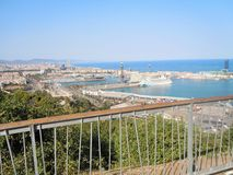 The view on the port in Barcelone, Spain Royalty Free Stock Photo