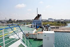 Port of Brindisi in southern Italy. View of the Port of Brindisi from the Grimaldi Lines ferry deck. Grimaldi Lines is one of the most important passenger royalty free stock photos