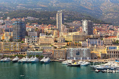 View of port and buildings in Monte Carlo, Monaco. Stock Image