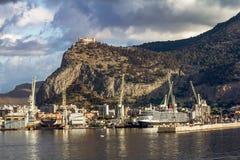 View of the port and Castello utveggio on mount Pellegrino in P Stock Photo