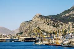 View of the port and Castello utveggio on mount Pellegrino in P Stock Image