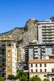 View of the port and Castello utveggio on mount Pellegrino in P Stock Photos